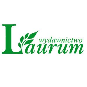 Wydawnictwo Laurum zielone logo z listkiem laurowym