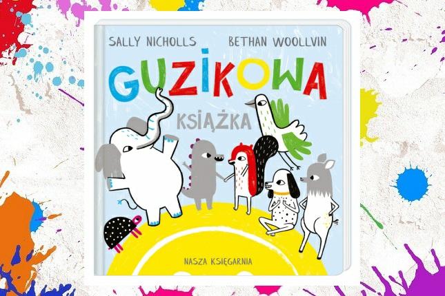 Okładka Guzikowej książki na kolorowym tle