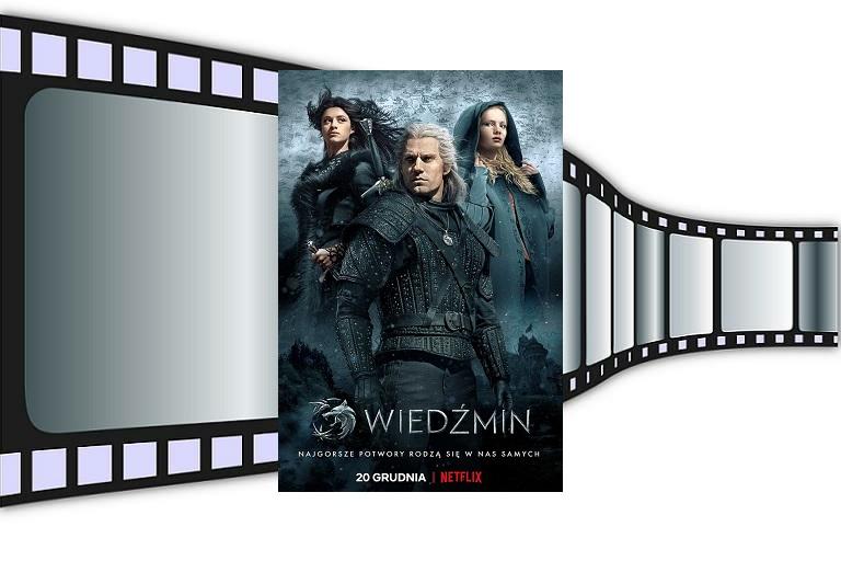 Wiedźmin zdjęcie główne plakat na tle rolki filmowej