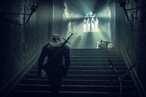 Geralt tuż przed walką ze strzygą, wspina się po schodach zamku