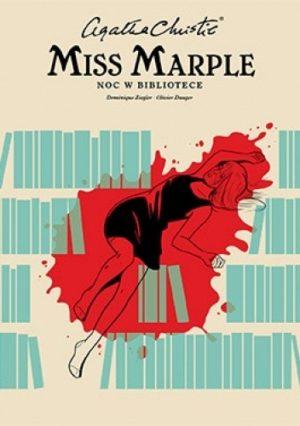 Agatha Christie noc w bibliotece kobieta w czarnej sukience plama krwi zielone książki na beżowym tle