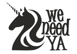Logo wydawnictwa We need ya czarno-biały jednorożec