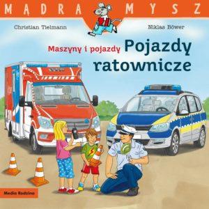 seria mądra mysz pojazdy ratownicze radiowóz i wóz strażacki w tle ania, marek i policjant na pierwszym planie