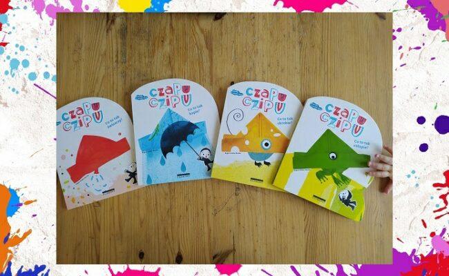 Czapu Czipu, okładki książek z serii, z boku rączka dziecka sięgająca po jedną z książek