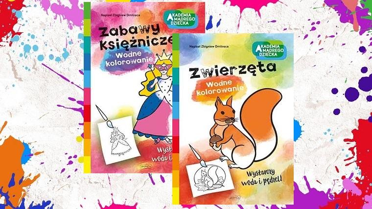 Wodne kolorowanie, Zabawy księżniczek, Zwierzęta, okładki, kolorowe tło