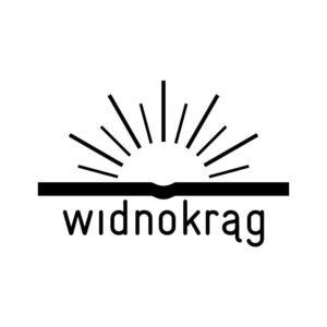 Wydawnictwo Widnokrąg - logo, słońce wychodzące zza książki