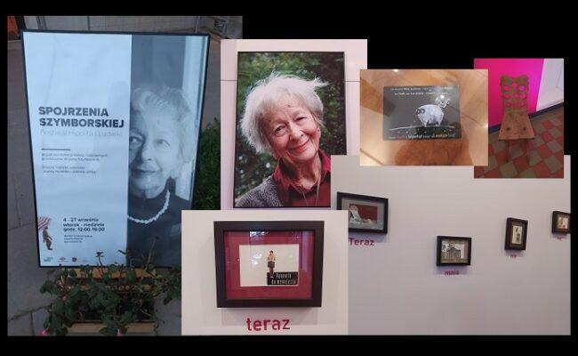 Wystawa Spojrzenia Szymborskiej - kolaż ze zdjęć eksponatów