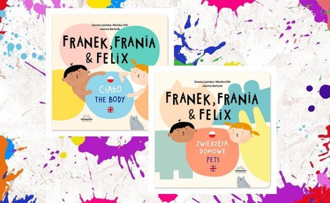 """Franek, Frania i Felix - okładki tomów """"Ciało"""" i """"Zwierzęta domowe"""" na kolorowym tle"""