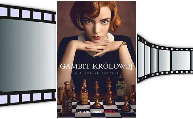 Gambit królowej - plakat na tle rolki filmu