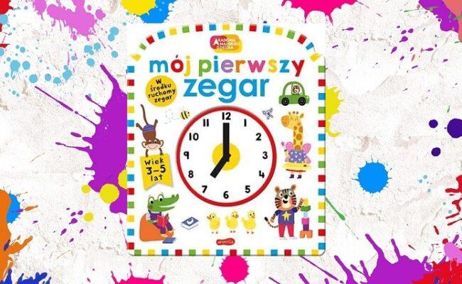 Mój pierwszy zegar - okładka, w tle kolorowe esy floresy